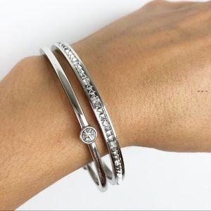 Ann Taylor Loft silver rhinestone bangle bracelets